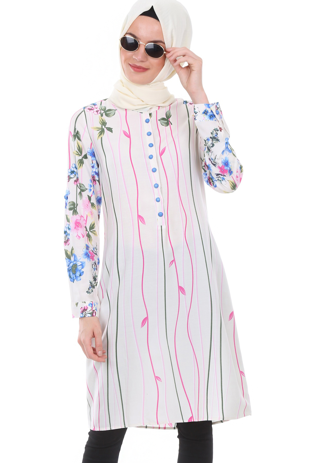 Women's Crew Neck Button Top Patterned Tunic